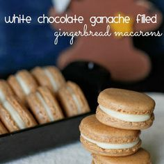 White chocolate ganache filled gingerbread macarons