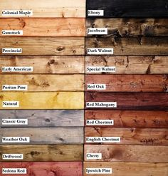 You will receive a square wood sample in the color or stain of your choice. We'll send you a sample stain on the type of wood that your item is built in so that you get an idea of the closest match possible. Wood patterns are for the full Into The Woods, Pallet Projects, Woodworking Projects, Pallet Stain Ideas, Woodworking Finishes, Woodworking Joints, Woodworking Patterns, Woodworking Furniture, Woodworking Plans