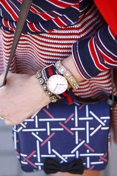 navy blue mix of prints.  Carel Paris bag and Bershka top and skirt.