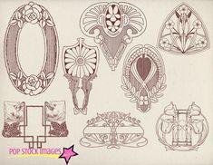 Art Nouveau Frames & Ornaments Vol 2 by ephemoire on @creativemarket