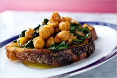 Chickpeas With Baby Spinach: View this and hundreds of other vegetarian recipes in the New York Times Eat Well Recipe Finder. Spinach Recipes, Vegetarian Recipes, Cooking Recipes, Healthy Recipes, Simple Recipes, Eat Healthy, Healthy Meals, Chickpeas Spinach Recipe, Warm Appetizers
