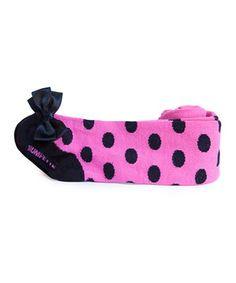 Hot Pink & Black Polka Dot Tights by Trumpette #zulily #zulilyfinds