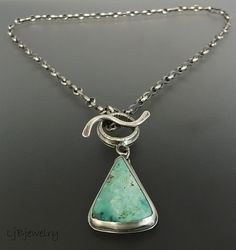 Turquoise Jewelry Turquoise Necklace Silver Necklace door LjBjewelry