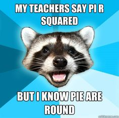 MY TEACHERS SAY PI R SQUARED BUT I KNOW PIE ARE ROUND - Lame Pun ...