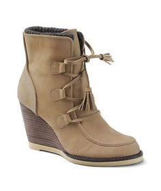 Lands' End Women's Tenley Wedge Booties | Spring is on the way, but given the crazy storms Mother Nature has thrown at us, who knows what rain, sleet, or snow is still to come. Invest in footwear that will protect you from the elements.