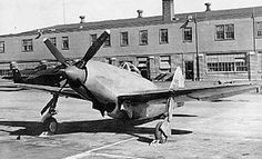 XP-72 (one of two made) prototype improvement on the P-47 at an airbase, 1944