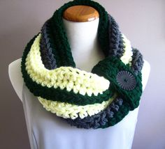 Bulky Crochet Cowl:  Hunter Green, Pale Yellow & Gray with Black Button, via Etsy