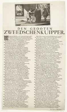 Anonymous | De Zweedse Kuiper, 1656, Anonymous, Jan Zoet, 1656 | Spotprent op de kuiperijen van de Zweedse koning Karel X Gustaaf tegen Denemarken en Pruisen, 1656. Een jonker kijkt toe hoe een kuiper een groot vat maakt. Op de deksel het wapen van de Zeven Verenigde Provincien. Op de achtergrond een vechtpartij. Onder plaat is een lang gedicht in twee kolommen waarin de Zweden en Cromwell worden bespot.