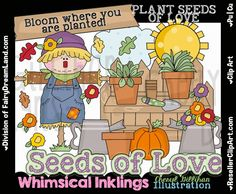 Plant Seeds Of Love  Scarecrow Clip Art - Commercial Use, Digital Image, Png, Clipart - Instant Download - Fall, Harvest, Pumpkin, Garden by ResellerClipArt on Etsy