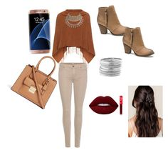 """""""WaveT"""" by alelopez511 ❤ liked on Polyvore featuring Samoon, 7 For All Mankind, London Rebel, Michael Kors, Samsung, Avenue and Lime Crime"""
