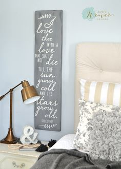 Wood sign for bedroom