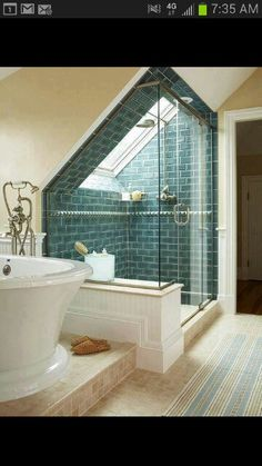 bright attic bathroom - add on to the existing master to make room for steam shower