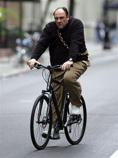 James Gandolfini on a bike