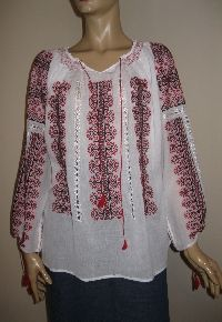 Red and black Romanian hand embroidered blouse available at www.greatblouses.com