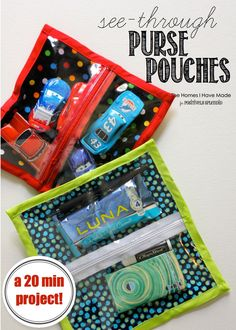 A sewing tutorial for see-through zipper pouches. Perfect for organization purses, backpacks and more!