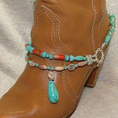 Turquoise Drop Beaded Boot Bracelet by FunkyFrogsCrafts on Etsy