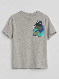 17a58c9085425 Gap Monster Pocket T-Shirt Simple Shirt Design, Simple Shirts, Kids Boys,