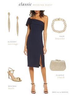 How to style a classic navy blue dress for a wedding guest  #weddingguest #fallfashion #dresses #bluedress #weddingguestdress #cocktaildress