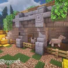 """@rpgcraft_ on Instagram: """"Stone horse stables! ➤Follow me at @rpgcraft_ ✌🏼 ➤Made by me! ➤Tag someone who would use this design 🤔 ➤Shaders: BSL V7 Shaders ➤Vanilla…"""" -   - #AncientArchitecture #arpgcraft #BSL #design #follow #GreatBuildingsAndStructures #horse #instagram #rpgcraft #shaders #stables #Stone #Tag #Vanilla Casa Medieval Minecraft, Minecraft Farm, Minecraft Plans, Minecraft Survival, Minecraft Construction, Cool Minecraft Houses, Minecraft Tutorial, Minecraft Blueprints, Minecraft Crafts"""