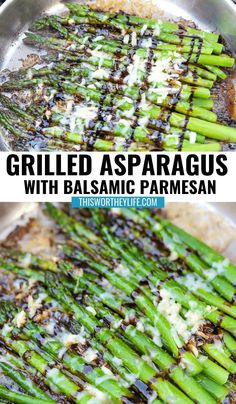 Take your grilling to another level with grilled asparagus. Our Savory Asparagus + Balsamic Parmesan is an easy, delicious side dish, perfect for summertime cookouts or holiday dinners. Pan grilled over an open flame and charcoal, makes this tastier than oven roasted asparagus. #grilled #grilling #asparagusrecipe #grilledasparagus #sidedish Roasted Asparagus Parmesan, Asparagus And Mushrooms, Asparagus On The Grill, Best Asparagus Recipe, Grilled Asparagus Recipes, Parmesan Recipes, Vegetable Dishes, Tasty, Grilling