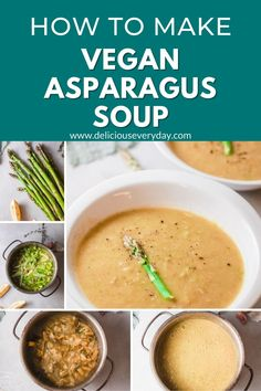 This Vegan Asparagus Soup is fragrant and creamy. It's the perfect soup for a quick dinner and 100% vegan! Easy Vegan Dinner, Vegan Dinner Recipes, Vegan Dinners, Soup Recipes, Vegan Soup, Vegetarian, Asparagus Soup, Just Eat It, Vegan Thanksgiving