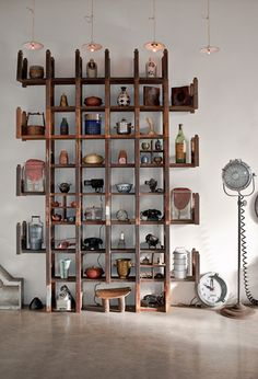 shelves...this could easily be created from 4 wood ladders and some cross boards/pallet boards