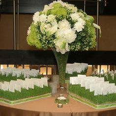 I like the escort cards in the grass