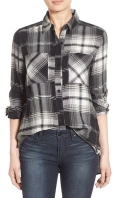 Black and white plaid, loose cotton tunic