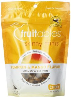 Skinny in Calories Mini in Size. These fashionably delicious chewy dog treats have an amazing aroma and taste and are the perfect size for small dogs or training. Pumpkin & Mango is the perfect comb...