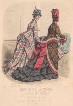 Revue de la Mode 1874. 1870s Victorian fashion plate. First bustle period.