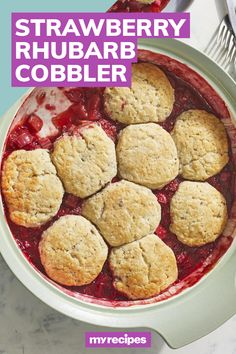 How do you make the warmed up sweet-tart flavors of strawberry cobbler even better? By adding rhubarb to the mix—strawberries and rhubarb's seasons (April to June) coincide, so it's only natural to combine them. #rhubarb #rhubarbrecipes #summerdesserts