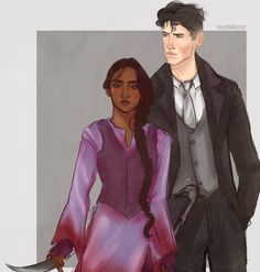 "noctefuror: "" Kaz and Inej from Six of Crows (kinda like how i picture them but no quite, gotta work on that), i´m LOVING this book "" Ohhhhhh look how beautiful"