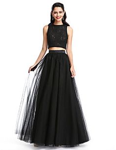 TS+Couture+Prom+Formal+Evening+Dress+-+Two+Pieces+A-line+Jewel+Floor-length+Lace+Tulle+with+Pleats+–+USD+$+315.00