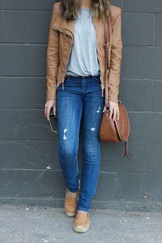 Vegan camel jacket + grey tshirt + ripped jeans