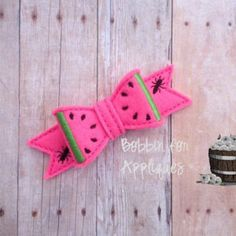 Watermelon Felt Bow Embellishment ITH In the Hoop Embroidery Design