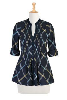 Tux Front Cotton Plaid Shirts, Feminine Shaped Fall Shirts Women's designer fashion - Shop Women's Tunic Tops - Embellished Tops, Long Sleeve Tops, Short Sleeve Tops - | eShakti.com