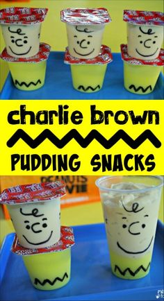 Peanuts Charlie Brown Pudding Snack - Celebrate your love of the Peanuts gang with this super easy snack! No artistic ability required. - A DIY idea for movie snacks at a backyard movie event by Southern Outdoor Cinema. Snoopy Birthday, Snoopy Party, Peanuts Gang Birthday Party, 2nd Birthday, Birthday Ideas, Birthday Parties, Snoopy Classroom, Classroom Snacks, Charlie Brown Thanksgiving
