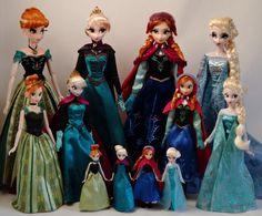 Elsa and Anna Dolls - 17'', 12'' and 5.5'' - Group Photo - Full Front View