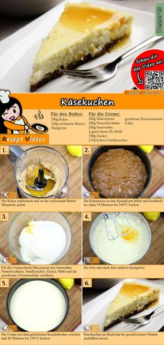 Ein einfaches Käsekuchenrezept gesucht? Das Käsekuchen Rezept Video findest du mit Hilfe des QR-Codes ganz leicht :) #Käsekuchen     #Apfelkuchen   #Torte  #Backen #Geburtstag #Geburtstagstorte #Dessert #Backrezepte #RezeptVideo #RezeptVideos #Rezept