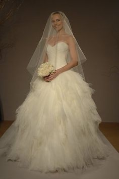 A romantic romona keveza ballgown with tulle and a sweetheart neck. Love the skirt.