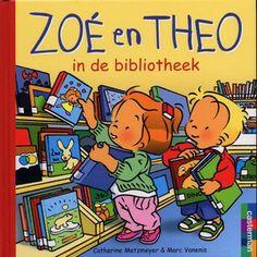 """""""Zoé en Theo in de bibliotheek"""" Catherine Metzmeyer - prentenboek over Zoé en Theo die met hun moeder en de baby naar de bibliotheek gaan"""