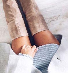 #winter #fashion / knee length boots + gray knit dress