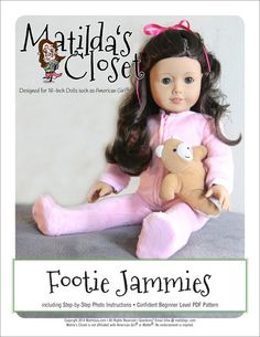 Matilda's Closet Footie Jammies Doll Clothes Pattern 18 inch American Girl Dolls | Pixie Faire