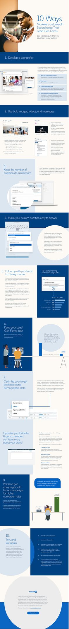 10 Ways Marketers Can Supercharge their LinkedIn Lead Gen Forms [Infographic] Inbound Marketing, Content Marketing, Social Media Marketing, Linkedin Advertising, Social Platform, Infographics, Shapes, Infographic, Info Graphics