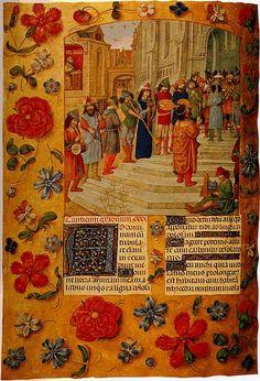 Muzikanten verleenden hun medewerking aan grote optochten en feestelijkheden in de stad.  Miniatuur door de Meester van het Gebedenboek van Dresden in het Breviarium van Isabella van Castilië, ca. 1497.  Londen, British Library, Add. Ms. 18851, fol. 184v