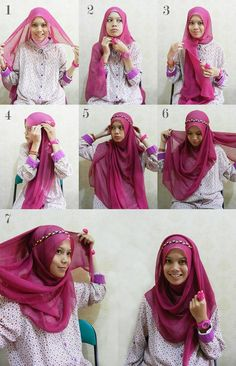 I have collected hijab styles step by step tutorial. It consists of steps required to wear beautiful hijab styles. These steps for hijab styles are easy. Islamic Fashion, Muslim Fashion, Hijab Fashion, Grunge Fashion, Modest Fashion, Fashion Dresses, How To Wear Hijab, How To Wear Scarves, Hijab Outfit