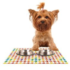 Kess InHouse Empire Ruhl 'Rainbow Houndstooth' Feeding Mat for Pet Bowl, 18 by 13-Inch ** Continue to the product at the image link. (This is an affiliate link and I receive a commission for the sales)
