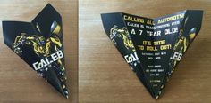 Custom Transformers Bumblebee Paper Airplane Invitation! Personalize Verbiage, Colors & More! Perfect for Birthdays, Announcements, Etc!