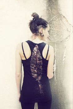 TRIBAL FEATHER TANK top  handpainted by SiamicWear on Etsy, €38.00