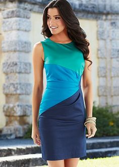Pleated color block dress $39